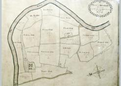 1718 Goodrich manorial map showing the castle and Flanesford priory