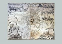 1757 Hereford City map Isaac Taylor